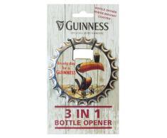 Guinness 3 en 1 Abridor de botellas, imán para nevera y posavasos con diseño de tucán