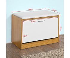 SoBuy® Armario zapatero, Taburete, puff caja, banco, estantería para zapatos, Chifonier, FSR16-BR, ES