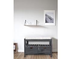 Rebecca Mobili Banco con 2 cajones y estantería, Asiento Auxiliar de Entrada, Color Gris, Estilo Shabby Chic Vintage, Dormitorio baño - Medidas: 43 x 65 x 34 cm (AxANxF) - Art. RE4551