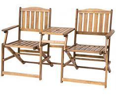 Siena Mybalconia 273801 Antibes - Banco plegable (madera de acacia FSC®, engrasada 100 %, con abertura para sombrilla)