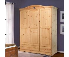 Armario 3 puertas de madera pino macizo - color nogal
