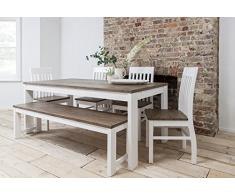 Noa and Nani - Conjunto de mesa de comedor, 5 sillas y banco y 2 extensiones, color blanco y madera de pino oscura
