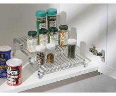 mDesign – Especiero para armarios de cocina y encimeras – Práctico organizador de especias – Especiero de cocina en tres niveles – Color: plateado