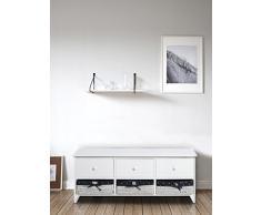 Banco blanco bajo armario de cajones banco brillante redondo de 3 cajones de madera perillas 3 cestas de mimbre (Cod. 0-1478)
