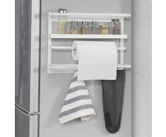 SoBuy® Especiero de pared,estante de cocina con portarrollo, frigorífico Colgador,blanco,L 47cm,FRG247-W,ES