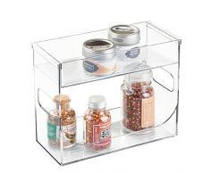 mDesign - Especiero cocina - Organizador de especias transparente con dos niveles - Mantenga sus especias o tés ordenados con este mueble especiero