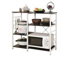 """DlandHome Soporte para carro de microondas 35.4"""", Almacenamiento de utilidad de cocina 3 niveles + 3 niveles para Baker's Rack & Especiero Organizador Plataforma de la estación de trabajo, Black"""