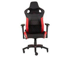 Corsair T1 Race Silla de Oficina, para Videojuegos, Polipiel, fácil de ensamblar, giratoria ergonómica, Altura Ajustable y reposabrazos 4D, Asiento cómodo y reclinable, Negro y Rojo