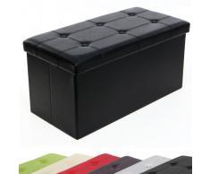 Songmics LSF105 - Taburete con compartimento de almacenaje (76 x 38 x 38 cm), color negro