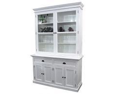Nova solo bca594 Buffet Biblioteca con vitrina con 2 puertas caoba/MDF color blanco 50 x 145 x 220 cm)
