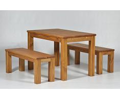 """Juego de muebles de comedor """"Brasil-Möbel"""" 120 x 80 cm 2 x 120 x 38 cm + banco de madera de pino, barnizada y encerada, tono miel, optional: solapa placas, el original!"""