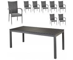 Set de jardín «Las Vegas XXL/Palermo» (8 sillones confort, gris)