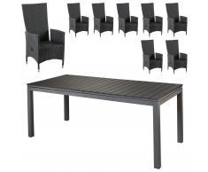Set de jardín «Las Vegas XXL/Rio Grande» (8 sillones confort, negro)