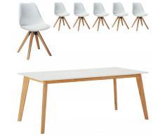 Set mesa Blokhus + 6 sillas Blokhus blanco (90x180)