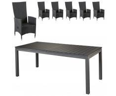 Set de jardín «Las Vegas XXL/Rio Grande» (6 sillones confort, negro)