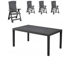 Set de jardín Livorno (1 mesa, 4 sillas, gris)
