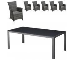 Set de jardín Las Vegas / Kansas (1 mesa, 6 sillones confort)