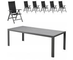Set de jardín Miami/Las Vegas (1 mesa, 6 sillas de jardín)