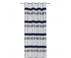 Cortina deco. 2 capas con franjas (140x245, azul/gris)