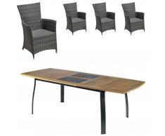 Set de jardín Kingston/Kansas (1 mesa, 4 sillones confort, extensible)