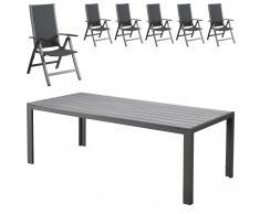 Set de jardín Miami / Pasadena (1 mesa, 6 sillas, negro)