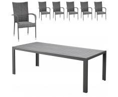 Set de jardín Miami/Palermo (1 mesa, 6 sillas apilables, gris)