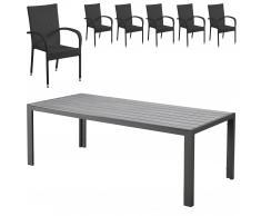 Set de jardín Miami/Palermo (1 mesa, 6 sillas apilables, negro)