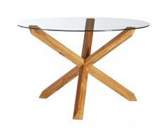 Mesa de comedor Saskia (ø 118,5 cm, Roble, Cristal)