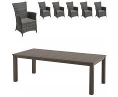 Set de jardín Alexis/Kansas (1 mesa, 6 sillones confort)