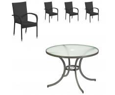 Set de jardín «Nizza/Palermo» (Mesa + 4 sillas apilables, negro)