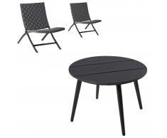 Set de jardín Lissabon (1 mesa, 2 sillas plegables, con cojines)