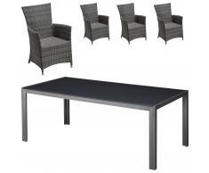 Set de jardín Las Vegas / Kansas (1 mesa, 4 sillones confort)