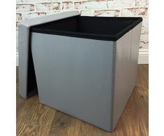 LSF90B – Taburete Cubo Cubo Caja Muebles 38 x 38 x 38 cm en Gris