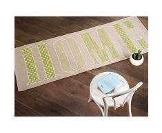 "Hogar dulce hogar moderno tejido plano alfombra de corredor para pasillos - 60 x 230 cm para colgar, polipropileno, Green ( Cream Pistachio ), 60x230cm (2'0""x7'6"")"