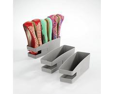 Wenko 420613900 Zapatos Soporte para bailarinas, Gris, Conjunto de 3, 9 x 9.5 x 26.5 cm