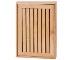 Caja de bambú - Con 8 ganchos - armario de llaves - Llavero de pared - para guardar llaves - caja