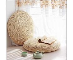 BulzEU - Puf de Paja Natural con diseño de Tatami, futón de Punto Redondo, cojín de Piso para Tatami, tapete de meditación, Esterilla de Yoga Suave para balcón, Sala de Estar, jardín, 40 cm