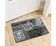 Relaxdays - Felpudo con diseño de carta postal para la entrada de su hogar hecho de fibras de coco y PVC con medidas 40 x 60 cm antideslizante elemento decorativo, color gris