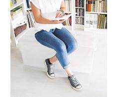 Relaxdays - Banco plegable con espacio de almacenamiento hecho de cuero sintético con medidas 38 x 78 x 38 cm capacidad de 85 L asiento baúl, color blanco