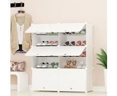 PREMAG Organizador de Almacenamiento de Calzado portátil Tower, Blanco, Estante de gabinete Modular para Ahorrar Espacio, estantes de Zapatero para Zapatos, Botas, Zapatillas 2 * 5