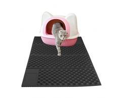 Aolvo - Alfombrilla plegable para gato (tamaño grande, goma EVA, apta para comida, para conejos, perros, gatos, fácil de limpiar, 73,6 x 45,7 cm), color negro, negro, 6.9 x 18.1 in