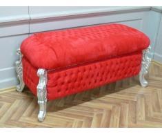 Barroco Banco de heces gabinete de lino estilo antiguo barroco de plata de terciopelo rojo AlBa2011SiRd