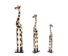 80 cm + 60 cm + 50 cm juego de 3 perchero de pie madera jirafas diseño de GH diseño de estampado de jirafa