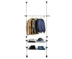 SoBuy® Sistema de perchero extensible (85 x 38 x 103-278 cm), metal y plástico, 2 cestas, FRG107, ES