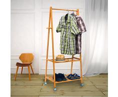 Relaxdays 10019031 - Perchero zapatero, 2 niveles, 154 x 73,5 x 45 cm, bambú, con ruedas