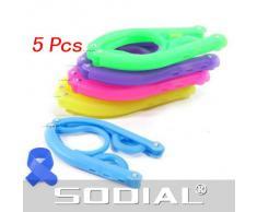 SODIAL(R) 5 x Percha Gancho de Ropa Plegable Portatil de Viaje Multicolor - Color al Azar + Lazo de Cable Azul
