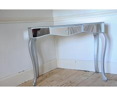 Efecto Espejo tocador mesa auxiliar con mesilla con un cajón y madera maciza patas plateadas