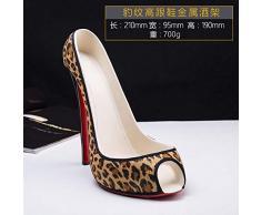 Expositor creativo para calzados de tacón alto para vino tinto, estampado de leopardo