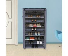 Songmics Organizador de tela de zapatos zapatero de 10 niveles Color Gris RXJ36G
