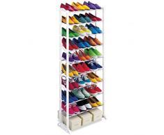 Estantería para almacenamiento de zapatos, 30 pares, 10 niveles, plegable, apilable, zapatero, soporte de almacenamiento, organizador, soporte